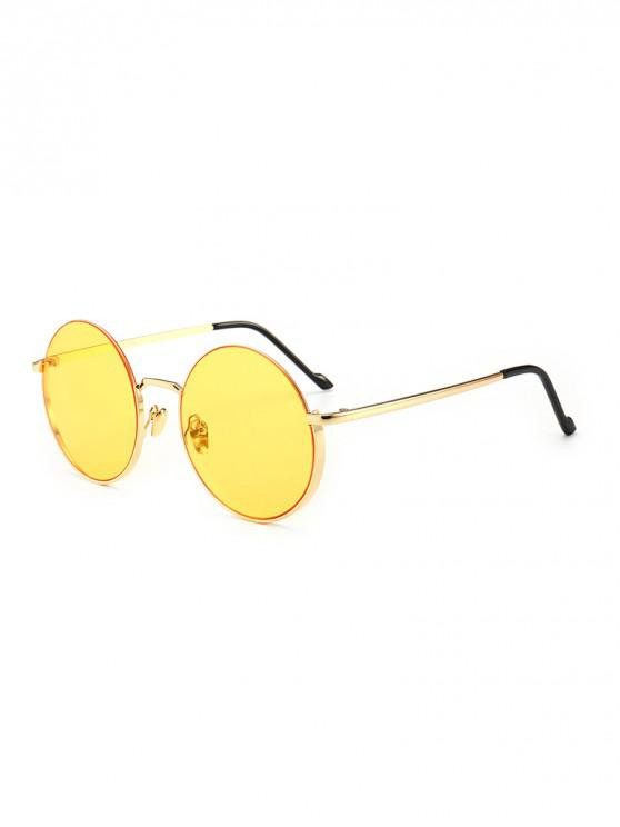 outfits Vintage Round Metal Anti UV Sunglasses - YELLOW