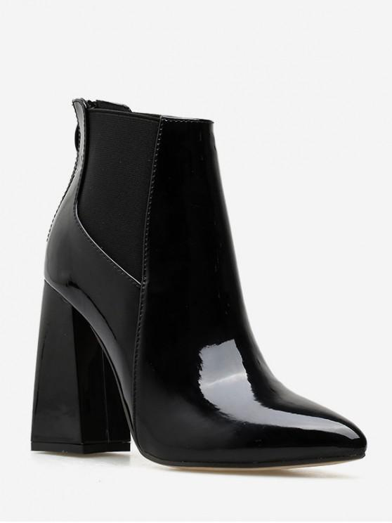 online Patent Leather Chunky Heel Chelsea Ankle Boots - BLACK EU 36