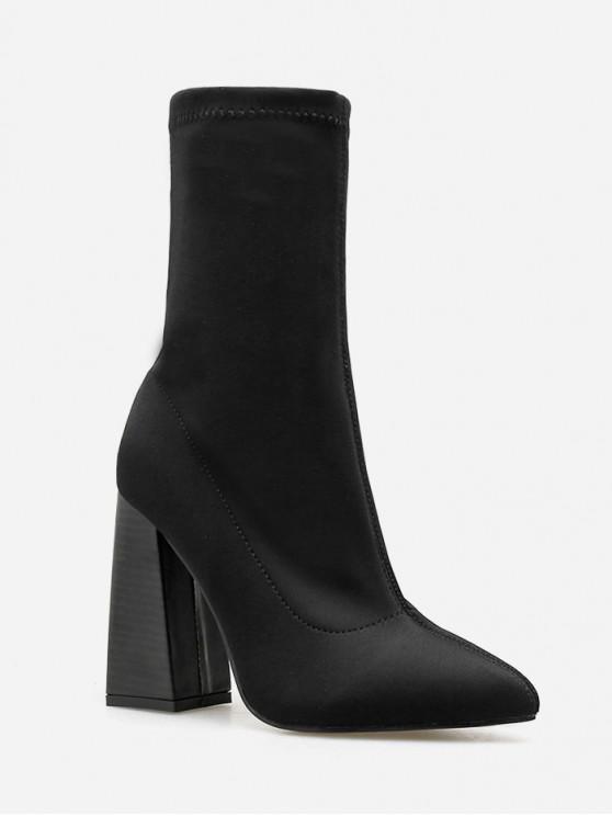 unique Super High Chunky Heel Plain Boots - BLACK EU 40