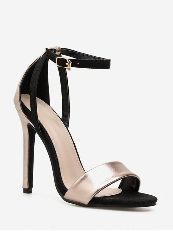 affordable Chic Buckle Strap Stiletto Heel Pumps - CHAMPAGNE GOLD EU 42