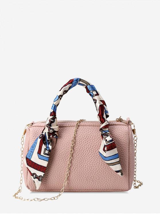 womens Litchi Grain Solid Color Crossbody Bag - ROSE