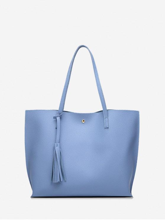 women's Litchi Grain Solid Color PU Shoulder Bag - SKY BLUE