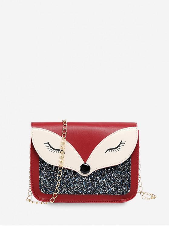 ladies Sequined Panel Animal Design Chain Crossbody Bag - RED WINE