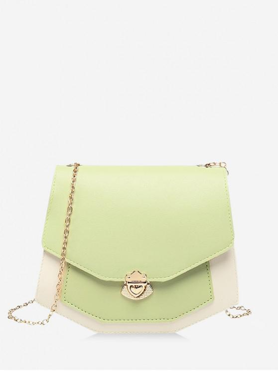outfit Color Spliced Chain Strap Crossbody Bag - TEA GREEN