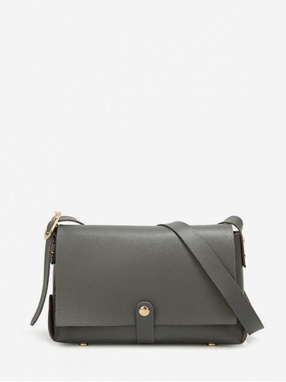 trendy Solid Color Rivet Embellished Crossbody Bag - GRAY