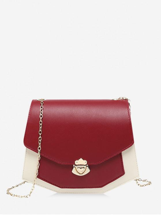 fashion Color Spliced Chain Strap Crossbody Bag - RED WINE
