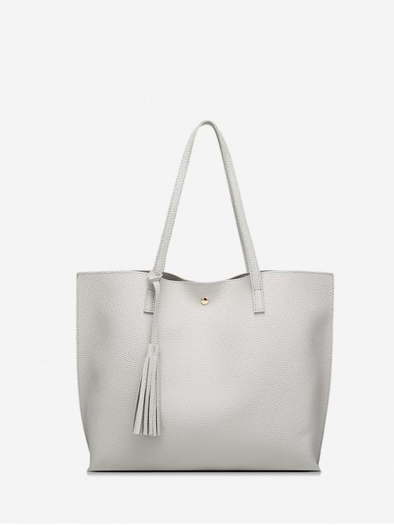 fancy Litchi Grain Solid Color PU Shoulder Bag - GRAY GOOSE