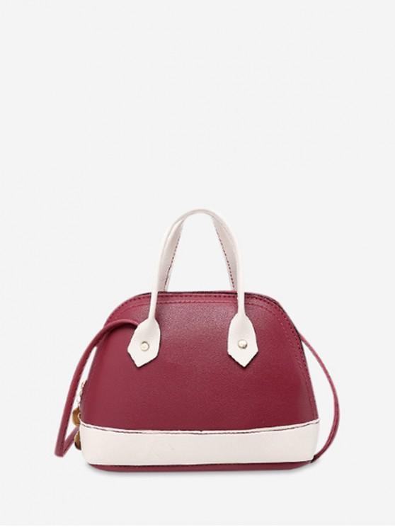 affordable Striped Shell Shape Crossbody Bag - RED WINE