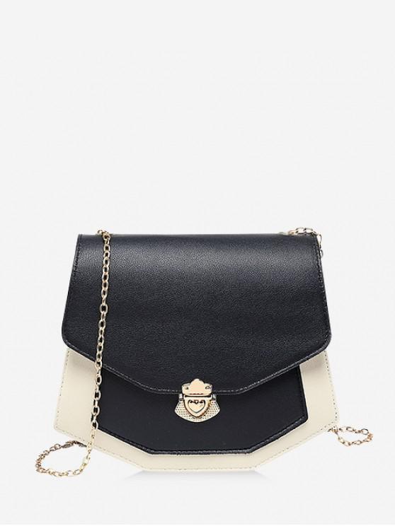 ladies Color Spliced Chain Strap Crossbody Bag - BLACK