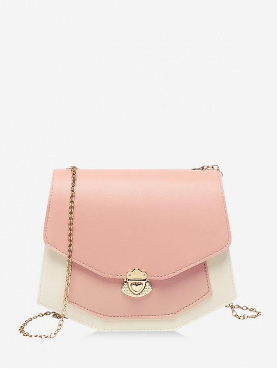 online Color Spliced Chain Strap Crossbody Bag - PINK