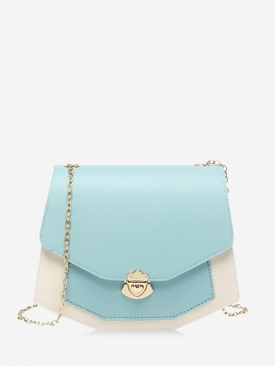 hot Color Spliced Chain Strap Crossbody Bag - CORAL BLUE