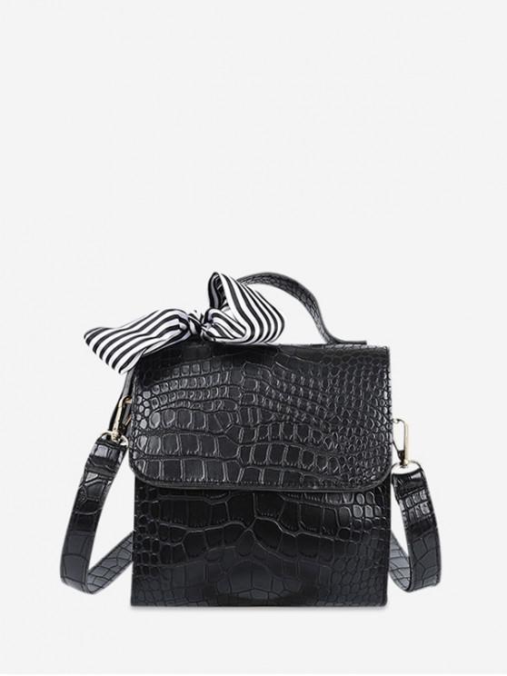 復古紋理設計斜挎包 - 黑色