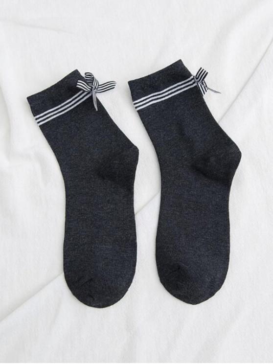 trendy Bowknot Striped Design Floor Socks - CARBON GRAY