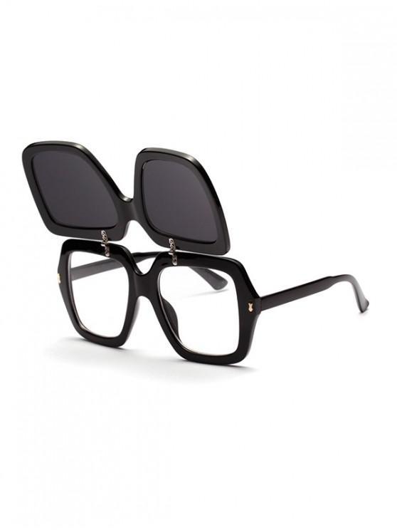 chic Double-deck Decoration Outdoor Sunglasses - BLACK