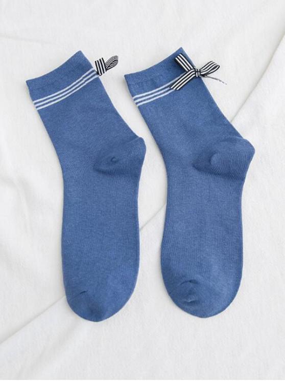 Chaussettes Rayure Design avec Nœud Papillon - Bleu Lierre