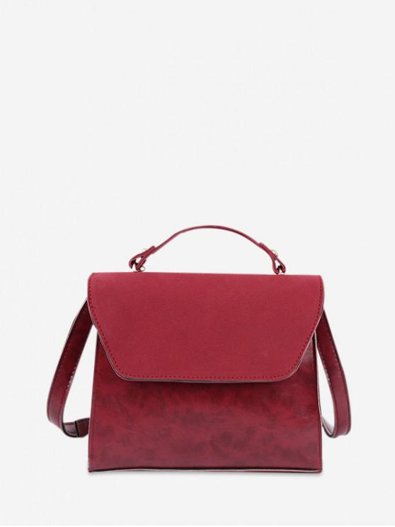 affordable Retro Solid Color Crossbody Bag - RED WINE