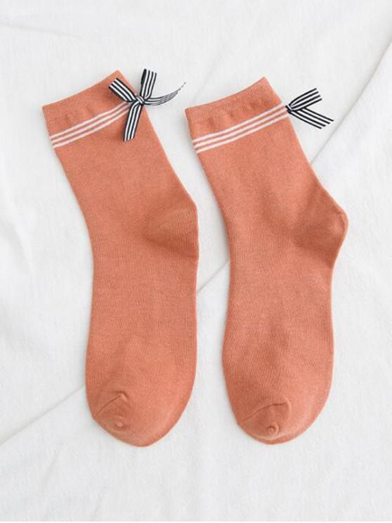 women Bowknot Striped Design Floor Socks - SANDY BROWN