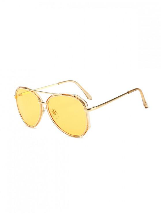 fancy Driving Bar Metal Pilot Sunglasses - YELLOW