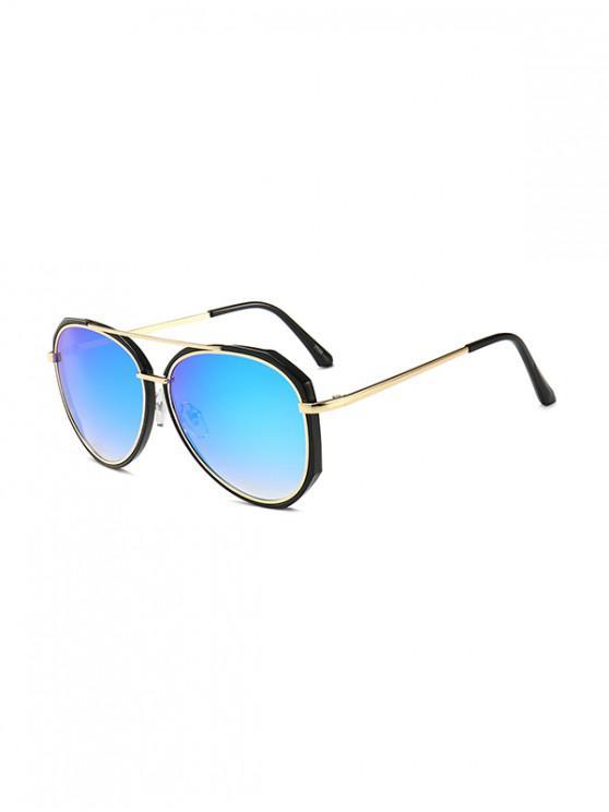 unique Driving Bar Metal Pilot Sunglasses - BLUE