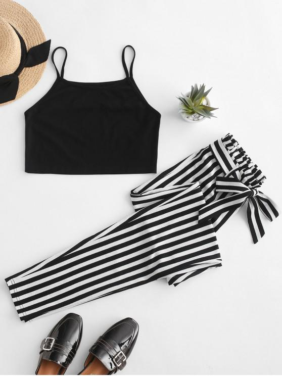 latest ZAFUL Belted Striped Cami Two Piece Paperbag Pants Set - BLACK S