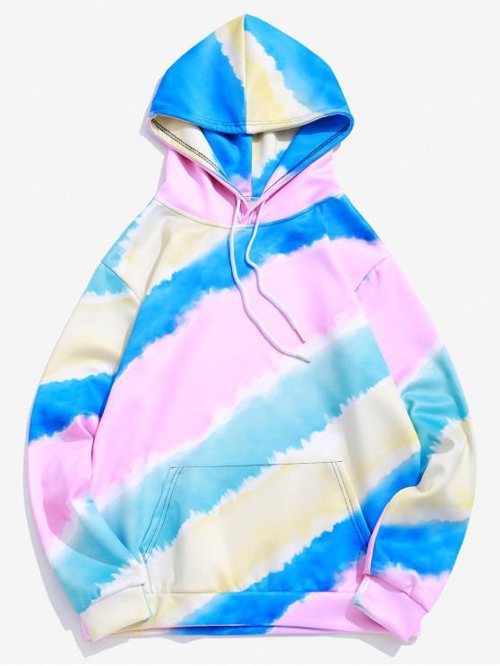 affordable Tie-dye Color Block Pullover Kangaroo Pocket  Hoodie - MULTI M