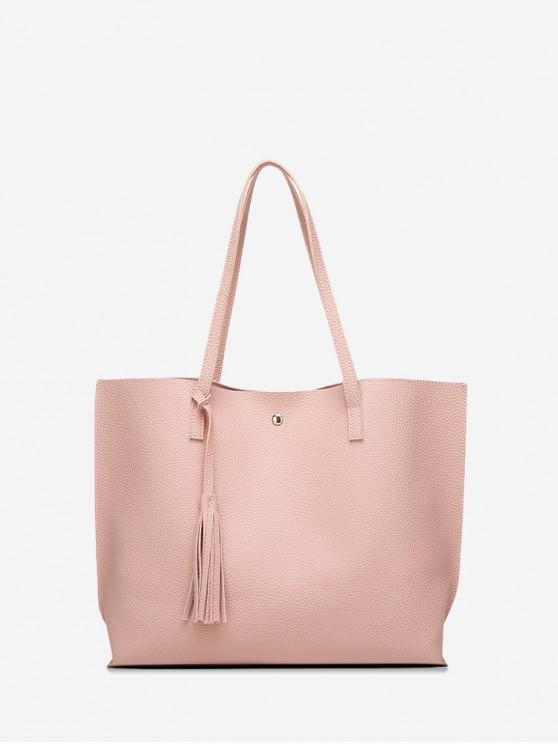shops Litchi Grain Solid Color PU Shoulder Bag - PINK