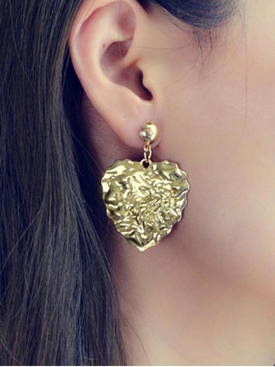womens Metal Alloy Heart Earrings - GOLD