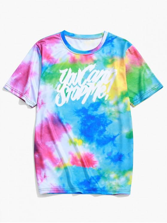 women's Letter Graphic Tie Dye Print Short Sleeve T-shirt - DODGER BLUE 2XL