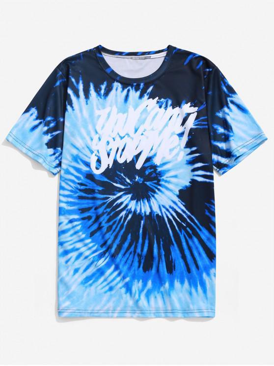 trendy Tie Dye Letter Graphic Print Short Sleeve T-shirt - OCEAN BLUE 3XL