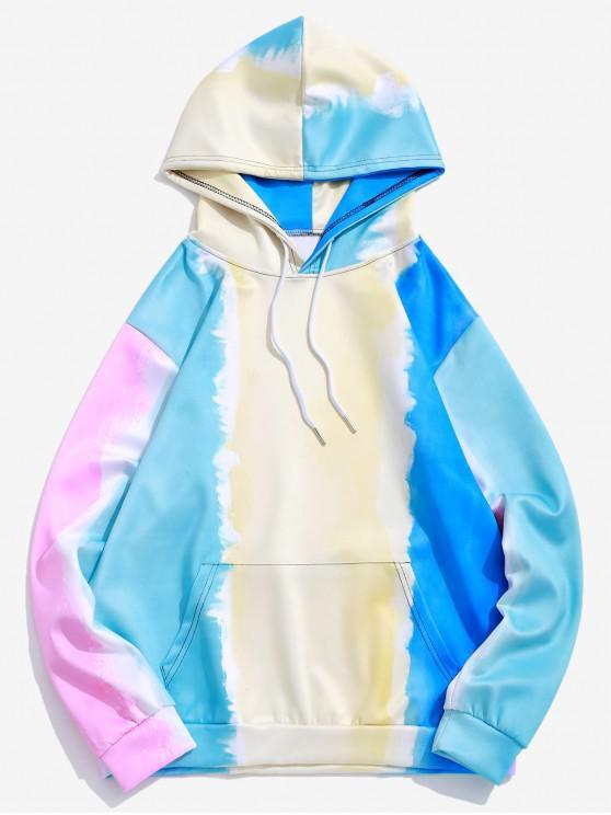women Tie Dye Color Block Print Kangaroo Pocket Hoodie - CREAM L