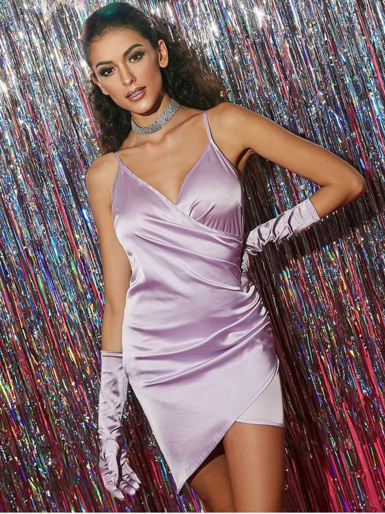 fashion ZAFUL Cami Surplice Satin Ruched Mini Dress - MAUVE S