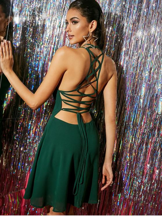 online ZAFUL Straps Lace Up Skater Cocktail Party Dress - MEDIUM SEA GREEN M