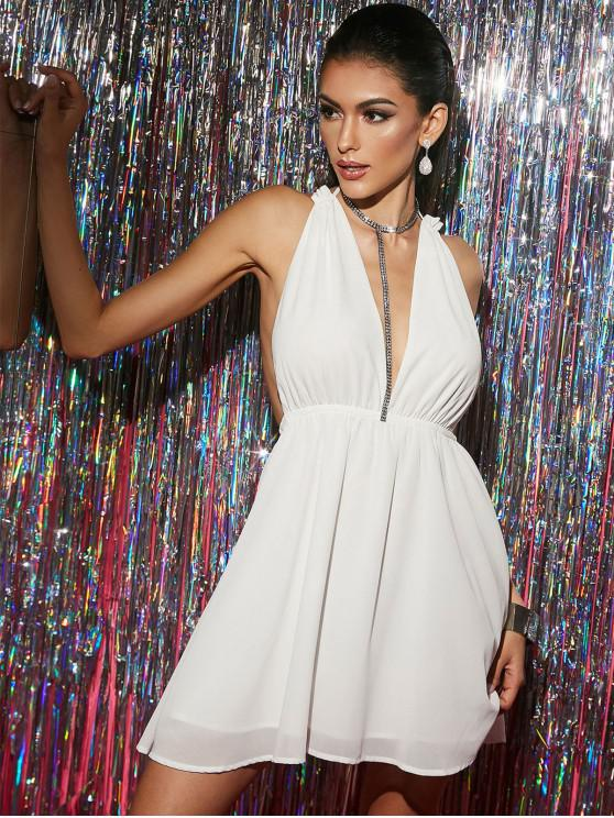 buy ZAFUL Cross Backless Chiffon Plunge Cocktail Dress - WHITE L