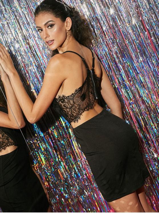 lady ZAFUL Lace Insert Cut Out Bodycon Dress - BLACK L