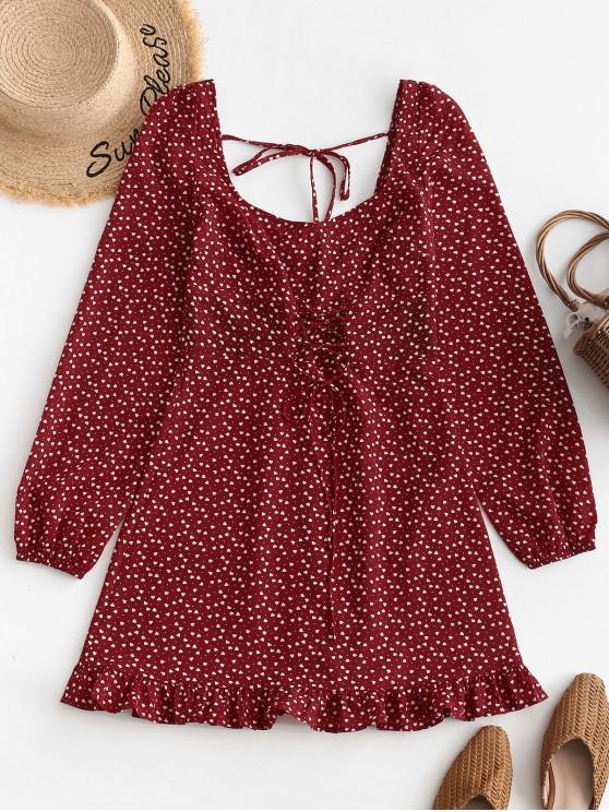 women ZAFUL Lace Up U Neck Heart Mini Dress - CHESTNUT RED S