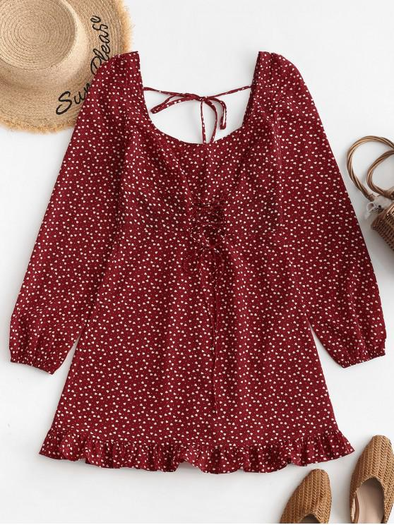 hot ZAFUL Lace Up U Neck Heart Mini Dress - CHESTNUT RED L