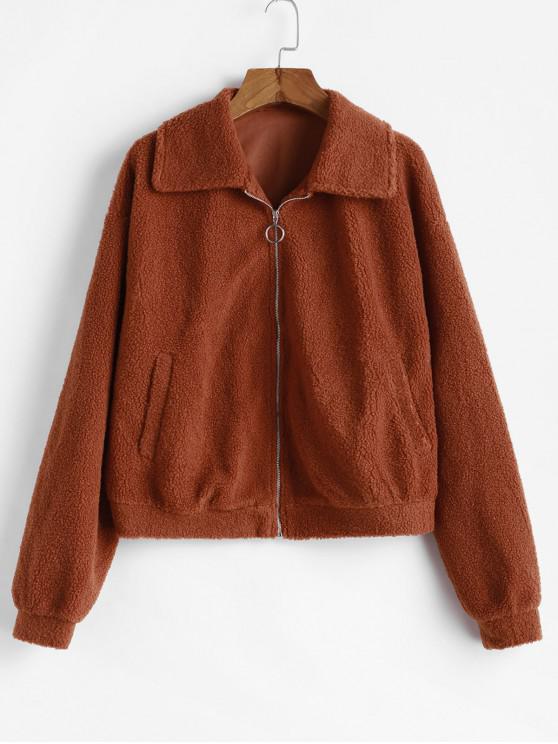 new Zippered Drop Shoulder Lamb Jacket - BROWN XL