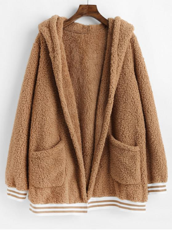 trendy Striped Hem Pockets Hooded Faux Fur Coat - TIGER ORANGE L