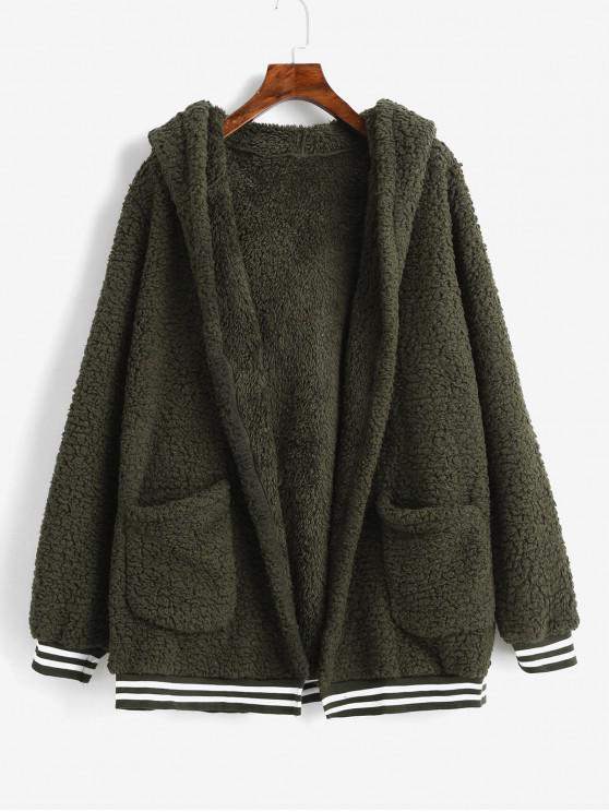 ladies Striped Hem Pockets Hooded Faux Fur Coat - ARMY GREEN M