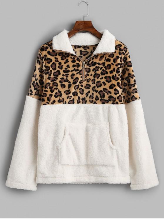 shop Leopard Print Kangaroo Pocket Faux Fur Sweatshirt - WHITE L