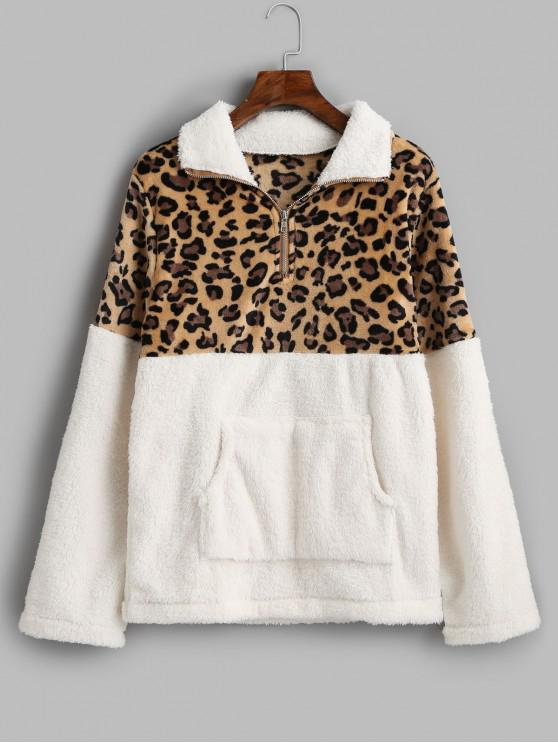 fashion Leopard Print Kangaroo Pocket Faux Fur Sweatshirt - WHITE XL