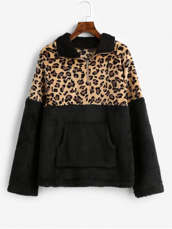 chic Leopard Print Kangaroo Pocket Faux Fur Sweatshirt - BLACK L