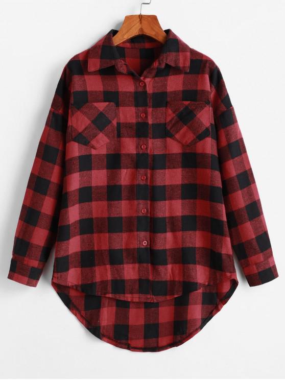 منقوشة الصوف منحني قميص الجيب منخفضة - متعددة-A XL