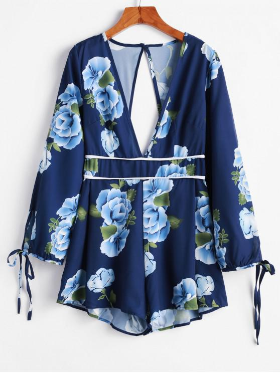 best Tie Sleeve Floral Cut Out Back Romper - BLUE L