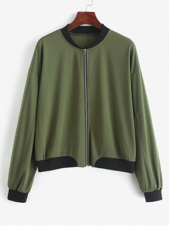 unique ZAFUL Drop Shoulder Zipper Baseball Jacket - ARMY GREEN L