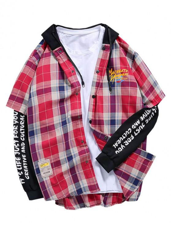 buy Faux Twinset Plaid Letter Graphic Print Button Hoodie - MULTI 3XL