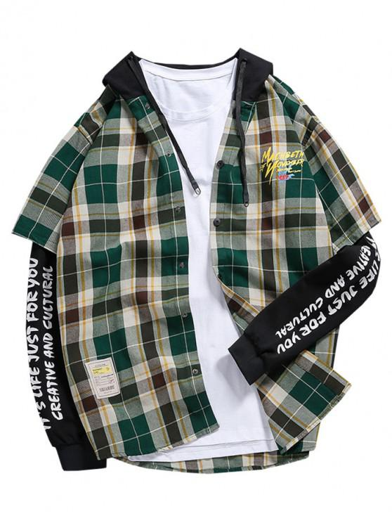 affordable Faux Twinset Plaid Letter Graphic Print Button Hoodie - MULTI-B M