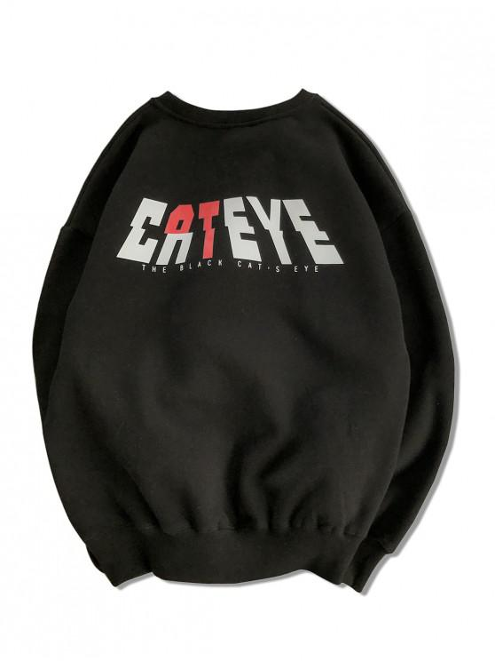 women's Cateye Letter Graphic Print Drop Shoulder Sweatshirt - BLACK 2XL