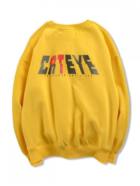 trendy Cateye Letter Graphic Print Drop Shoulder Sweatshirt - YELLOW 2XL