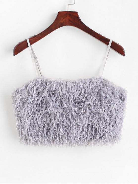 lady ZAFUL Plain Faux Feather Crop Camisole - BLUE GRAY M